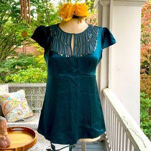 Nanette Lepore Emerald Green Silk Embellished Top